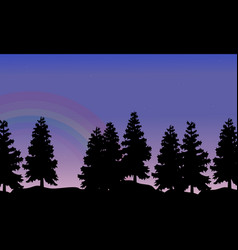 silhouette of tree lined with rainbow landscape vector image