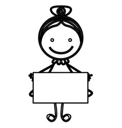 Sketch silhouette front view girl with collected vector