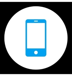 Smartphone flat blue and white colors round button vector image
