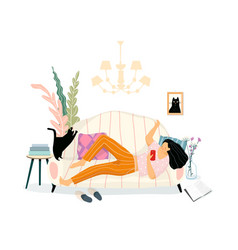 smiling young girl on sofa texting in social vector image