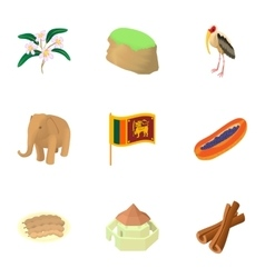 Sri Lanka icons set cartoon style vector