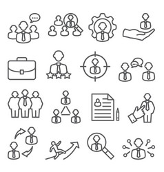 staff line icons set on white background vector image