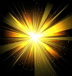 Star with rays white yellow in space isolated and vector
