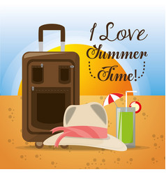 summer hat baggage and cold cocktail over sand vector image