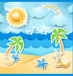 Summer seascape with palms and shells vector