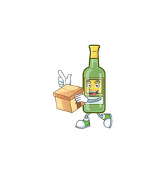 Sweet whiskey cartoon character with bring box vector