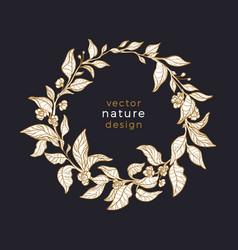 tea leaf in circle nature wreath art card vector image