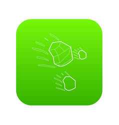 Throwing stones icon green vector