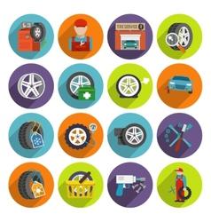 Tire service icon set vector image