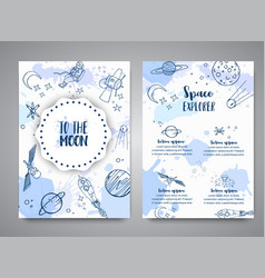 To the moon slogan space brochure hand drawn vector