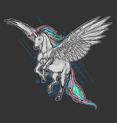 unicorn pegasus full colour artwork vector image