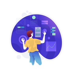 User experience design ui ux virtual screen vector