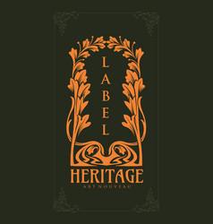 vintage design heritage art nouveau vector image