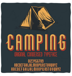 Vintage label typeface named camping vector