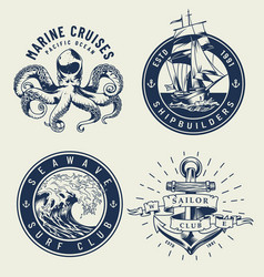 vintage monochrome nautical labels vector image