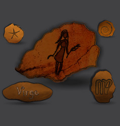 virgozodiac in the form of cave painting vector image