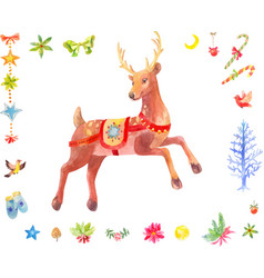 Watercolor christmas set of deer and other vector