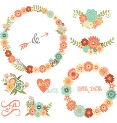 Wedding Floral Elements ArrowsFlowers Wreaths vector image
