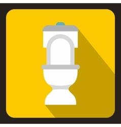 White toilet bowl icon flat style vector image