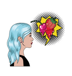 woman with speech bubble about comic vector image