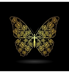 Yellow butterfly with floral pattern vector