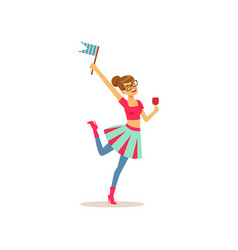 young girl having fun at college party teenager vector image
