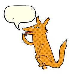 Cartoon fox licking paw with speech bubble vector