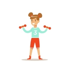 Girl doing exercises with dumbbells kid vector