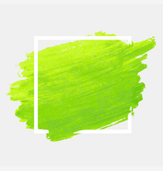 green watercolor stroke with white frame grunge vector image vector image