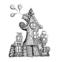 Original hand drawn doodle style fairy house Can vector image vector image