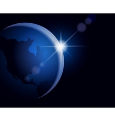 Rising sun over the Earth vector image