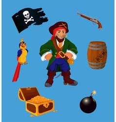 Set of pirate design elements vector image