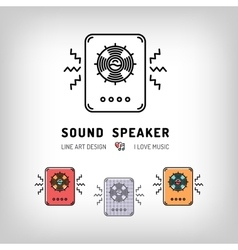 Sound speaker isolated line art icon Musical vector image vector image
