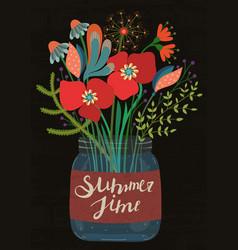Bouquet of flowers in glass jar summertime vector