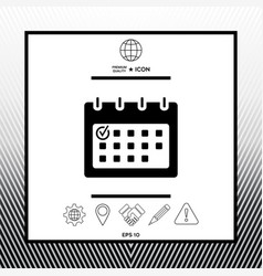 Calendar with check mark- ico vector