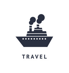 digital black travel boat vector image