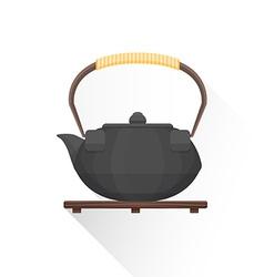 flat asian tea iron kettle icon vector image
