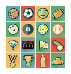 flat icons sport vector image vector image