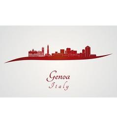 Genoa skyline in red vector image vector image
