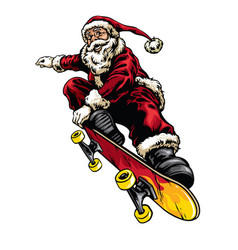 hand drawing style of santa claus riding vector image vector image
