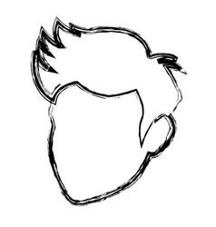 head man silhouette contour hair profile vector image