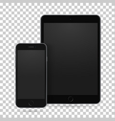 Set of realistic tablet and mobile phone with vector