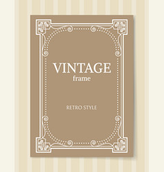 vintage frame retro style border isolated on beige vector image vector image