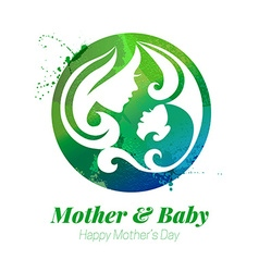 Watercolor effect of mother silhouette vector