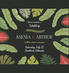 wedding invitation card vintage engraved template vector image vector image