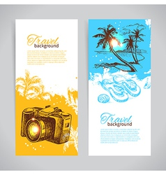 Banner set of travel colorful tropical banners vector