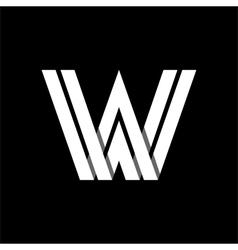 Letter w wide white stripes logo monogram emblem vector