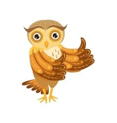Owl showing thumbs up cute cartoon character emoji vector