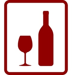 red wine icon with bottle and glass vector image