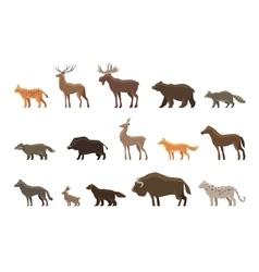 Animals icon set symbols such as lynx vector
